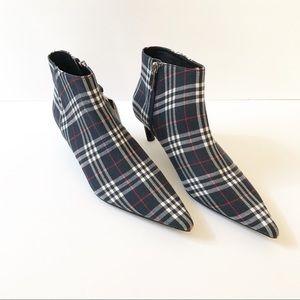 NWT Zara Plaid Kitten Heel Ankle Boots